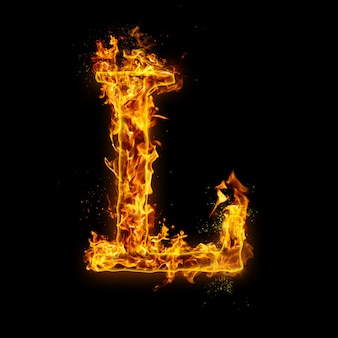 Letter l. fire flames on black , realistic fire effect with sparks. part of alphabet set