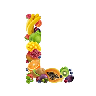 Letter l made of different fruits and berries
