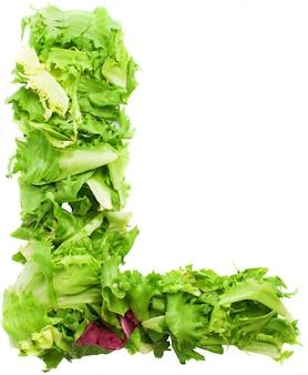 Letter l made of lettuce