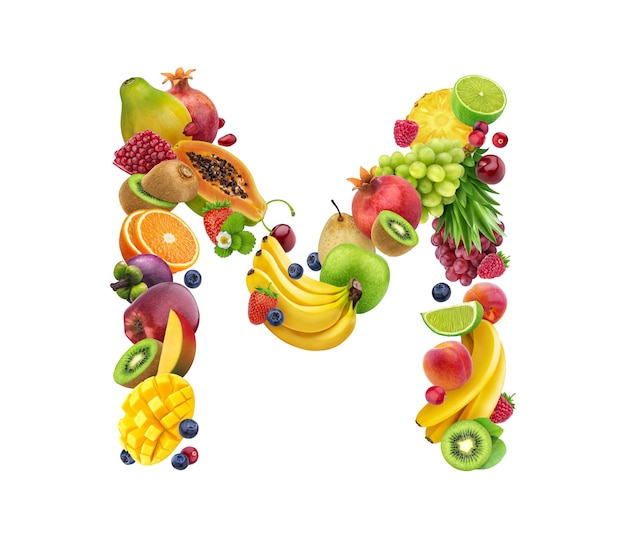 Letter m made of different fruits and berries