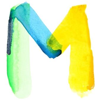 Буква m - яркий акварельный алфавит. цвета напоминают флаг бразилии