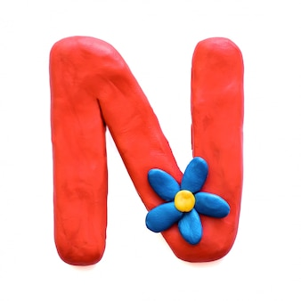 The letter n of the english alphabet from plasticine
