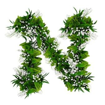 白で隔離された花と草で作られた文字n。 3dイラスト。