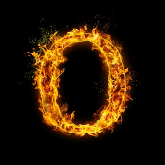Letter o. fire flames on black , realistic fire effect with sparks.
