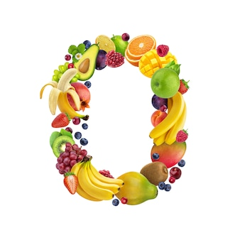 Letter o made of different fruits and berries