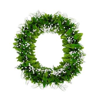 白で隔離された花と草で作られた文字o。 3dイラスト。