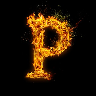 Letter p. fire flames on black , realistic fire effect with sparks.