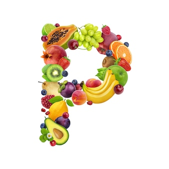 Letter p made of different fruits and berries