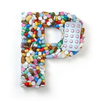 文字p.白で隔離の薬の丸薬、カプセル、錠剤、水ぶくれのアルファベットのセット。 3dイラスト