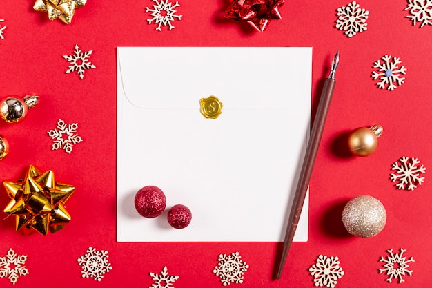 Letter pen and christmas decorations