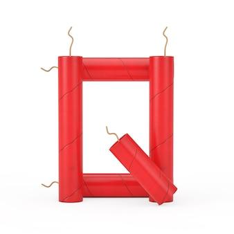 Буква q как коллекция алфавита палочки динамита на белом фоне. 3d рендеринг