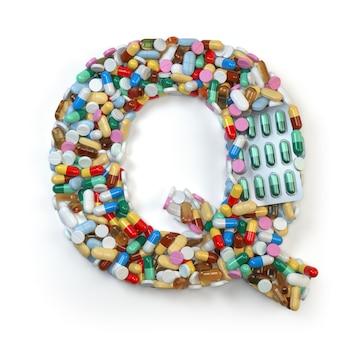 手紙q.白で隔離された薬の丸薬、カプセル、錠剤、水ぶくれのアルファベットのセット。 3dイラスト