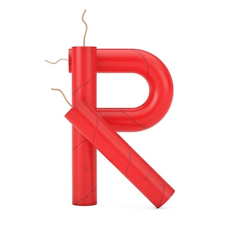 Буква r как коллекция алфавит палочки динамита на белом фоне. 3d рендеринг