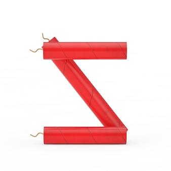 Буква s как коллекция алфавита динамитных палочек на белом фоне. 3d рендеринг