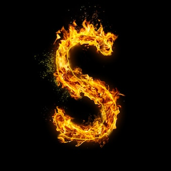 Letter s. fire flames on black , realistic fire effect with sparks.