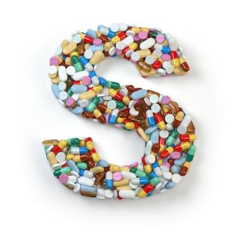手紙s。白で隔離される薬の丸薬、カプセル、錠剤、水ぶくれのアルファベットのセット。 3dイラスト