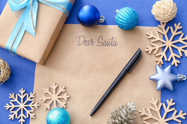 Letter to santa and christmas decor on color