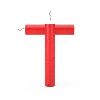 Буква t как коллекция алфавита динамитных палочек на белом фоне. 3d рендеринг
