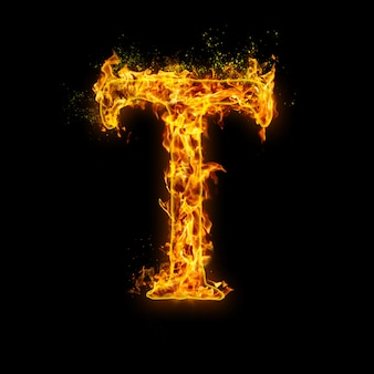 Letter t. fire flames on black , realistic fire effect with sparks. part of alphabet set