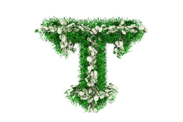 Letter t of green grass and flowers. 3d rendering.