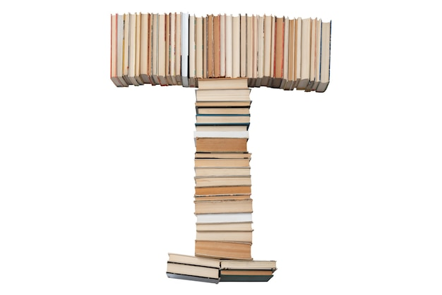 Letter t made of books isolated on white