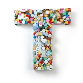 手紙t。白で隔離される薬の丸薬、カプセル、錠剤、水ぶくれのアルファベットのセット。 3dイラスト