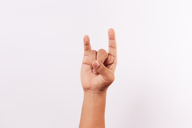 Letter u of the alphabet of sign language isolated