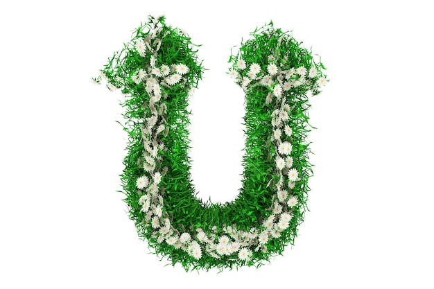Letter u of green grass and flowers. 3d rendering.