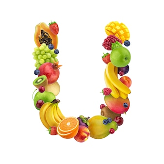 Letter u made of different fruits and berries