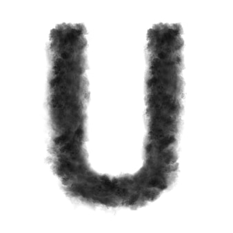 Letter u made from black clouds or smoke.