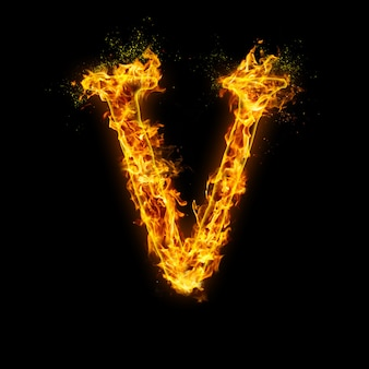 Letter v. fire flames on black , realistic fire effect with sparks.