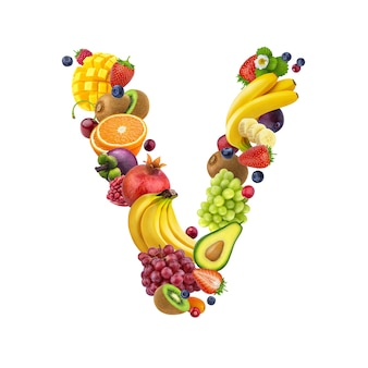 Letter v made of different fruits and berries