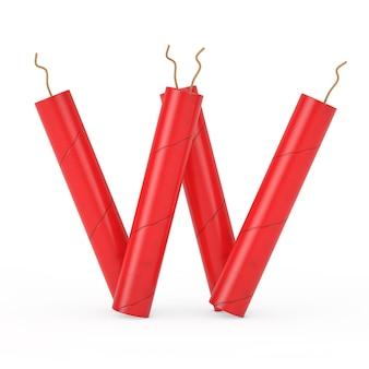 Буква w как коллекция алфавита палочки динамита на белом фоне. 3d рендеринг