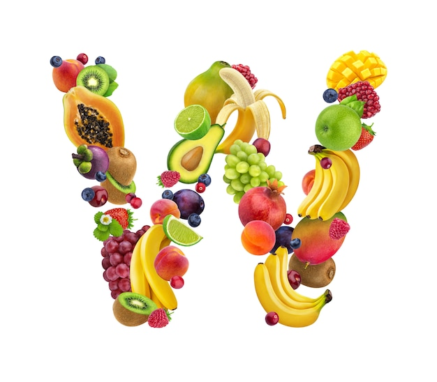 Letter w made of different fruits and berries