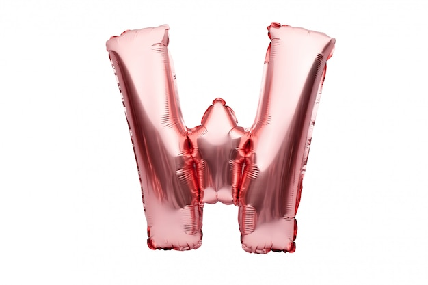 Letter w made of rose golden inflatable helium balloon isolated on white. gold pink foil balloon font part of full alphabet set of upper case letters.