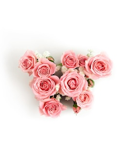 Letter w of pink roses isolated. international women's day template
