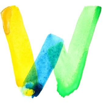 Буква w - яркий акварельный алфавит. цвета напоминают флаг бразилии
