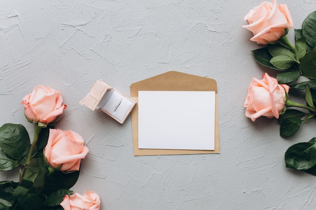 Letter with proposal on a gray background.