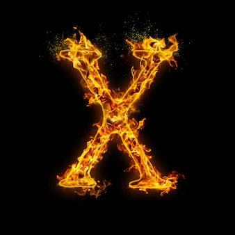 Letter x. fire flames on black , realistic fire effect with sparks.