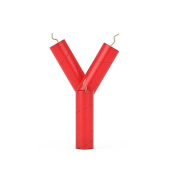 Буква y как коллекция алфавита палочки динамита на белом фоне. 3d рендеринг