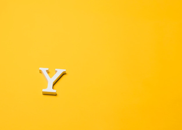 Letter y on floor with copyspace
