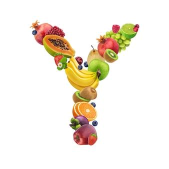 Letter y made of different fruits and berries