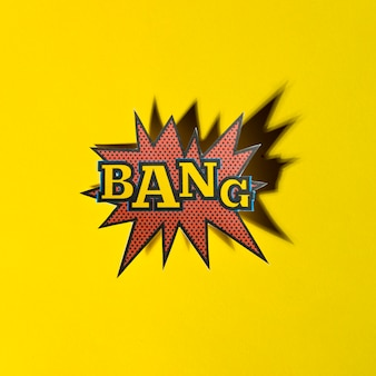 Lettering bang boom star with shadow on yellow background