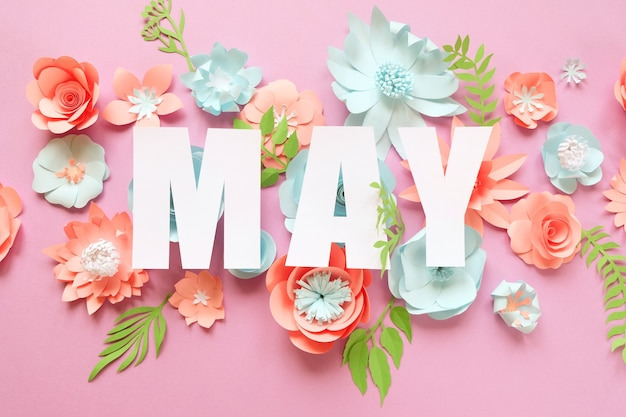 The lettering may, made of paper flowers. hello, may. concept of flowering, spring on pink background