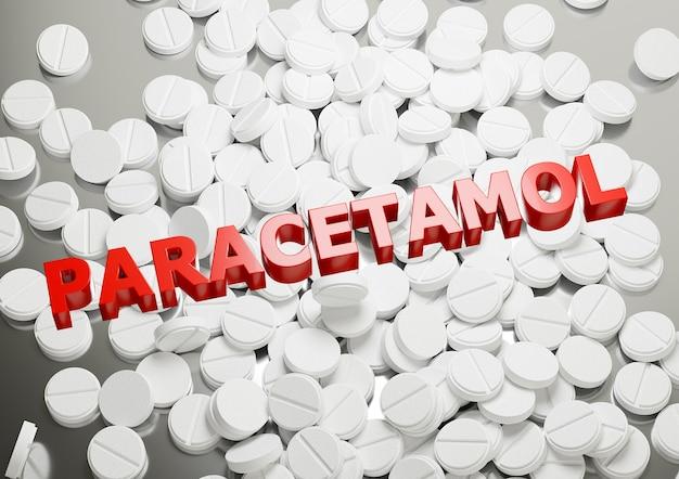 Надпись на куче поверхности таблеток парацетамола. препарат, применяемый для лечения лихорадки и боли.
