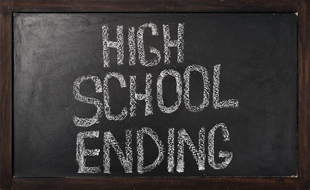 Lettering on the school blackboard, high school ending theme