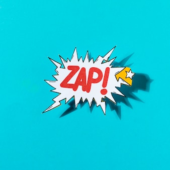 Lettering zap comic text sound bubble speech word on blue background