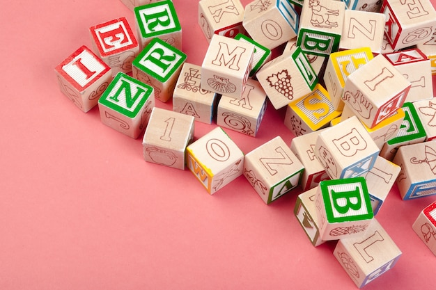 Letters cubes. wooden cubes with letters with copy space