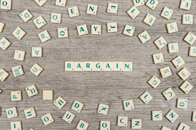 Letters forming the word bargain