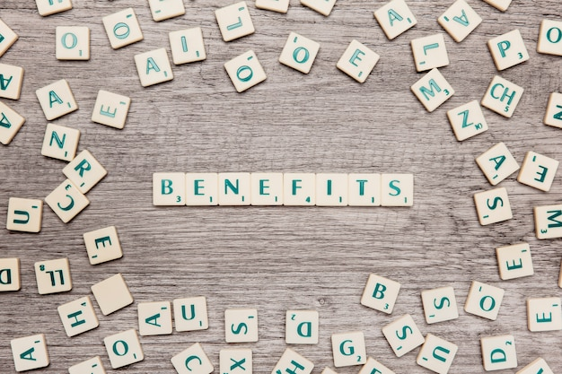 Letters forming the word benefits